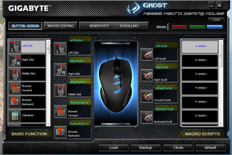 Gigabyte M6980 Macro Gaming Mouse Software